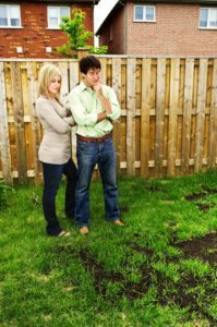 Young couple worried about damaged lawn